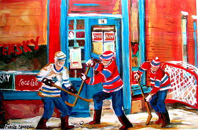 Our National Sport Painting - Hockey Sticks In Action by Carole Spandau