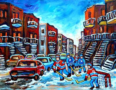 Painting - Hockey Streetscene Painting For Sale Montreal Staircases Winter In Verdun C Spandau Snowscenes by Carole Spandau