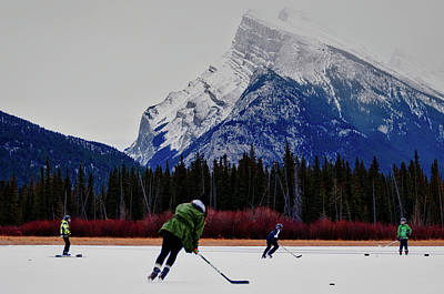 Hockey Under The Mountains Print by Priscilla Westra