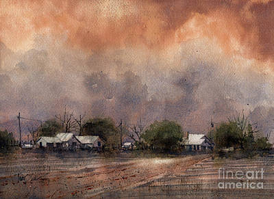 Painting - Hockley County Cotton Farm by Tim Oliver