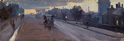 Horse And Carriage Painting - Hoddle St., 10 P.m. by Arthur Streeton