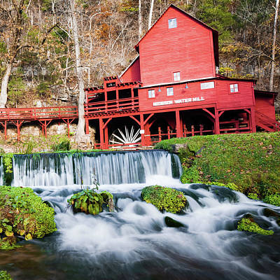 Photograph - Hodsgon Mill - Missouri - Square Format by Gregory Ballos