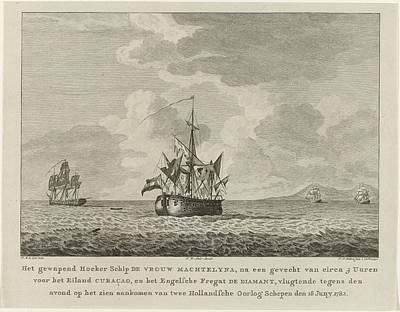 Drawing - Hoekerschip Vrouw Machtelyna Na Het Gevecht Met Engels Fregat Diamant Voor Curacao  1782 by R Muirhead Art
