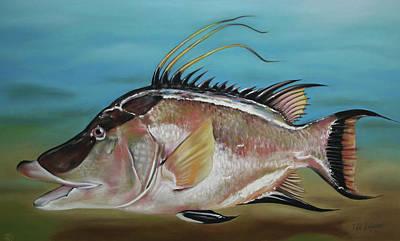 Paul Autodore Artist Pastel - Hog Fish by Paul Autodore