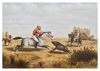 Drawing - Hog Hunting In Lower Bengal 1 by Percy Carpenter