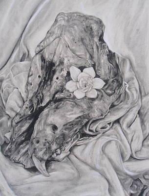 Hog Skull And Gardenia Original by Adrienne Martino