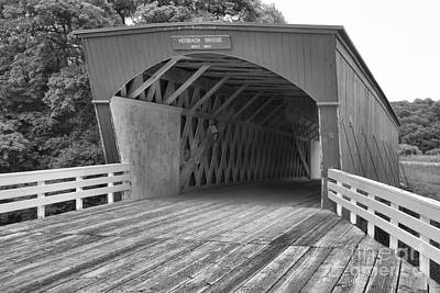 Photograph - Hogback Covered Bridge Black And White by Adam Jewell