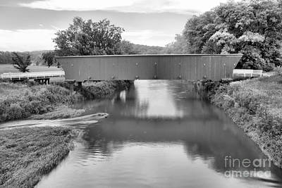 Photograph - Hogback Covered Bridge Reflections Black And White by Adam Jewell