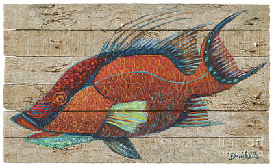 Hogfish On Lobster Trap Wood Art Print