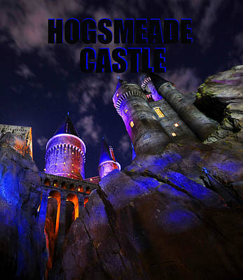 Photograph - Hogsmeade Castle Blue Text by David Lee Thompson