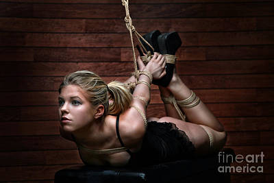 Nudeart Photograph - Hogtie - Tied Up Girl - Fine Art Of Bondage by Rod Meier