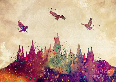 Harry Potter Digital Art - Hogwarts Castle Watercolor Art Print by Svetla Tancheva