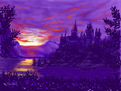 Painting - Hogwarts In Purple by Glenn Marshall
