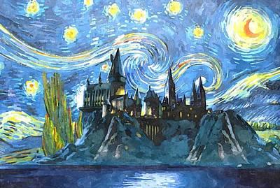 Hogwarts Digital Art - Blue Hogwarts Poster by Dimex Studio