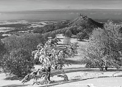 Photograph - Hohenzollern Castle In Winter Bw by Rudi Prott