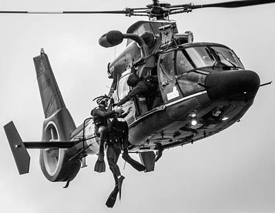 Photograph - Hoisting Victim Into Helicopter by Gregory Daley  PPSA