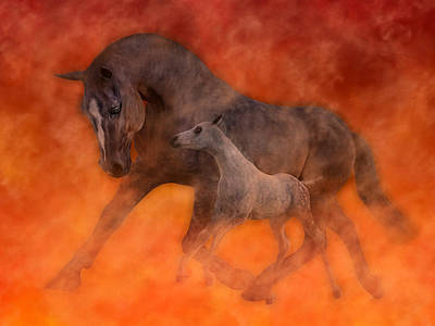 Gray Horse Digital Art - Hokie Horses by Betsy Knapp