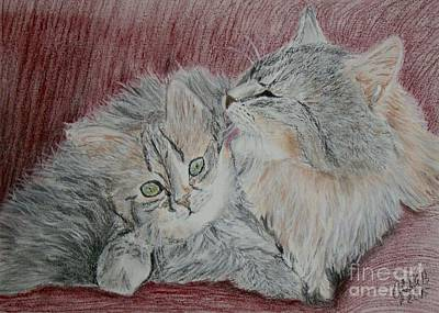 Wall Art - Pastel - Cat Love by Cybele Chaves