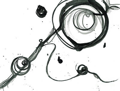 Signed By Artist Painting - Hold On - Revolving Life Collection - Modern Abstract Black Ink Artwork by Patricia Awapara
