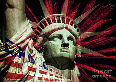 Statue Of Liberty Mixed Media - Hold On To The Dream by KaFra Art