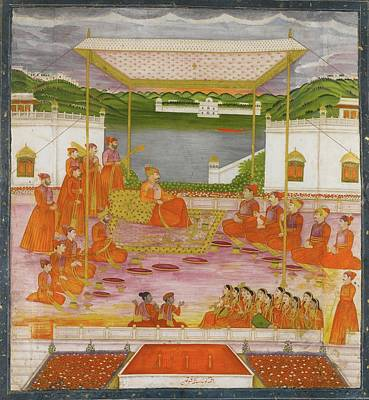 Holi Painting - holding court during Holi by Gobind Singh