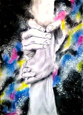 Galactic Drawing - Holding Hands by Adriana Mijaiche
