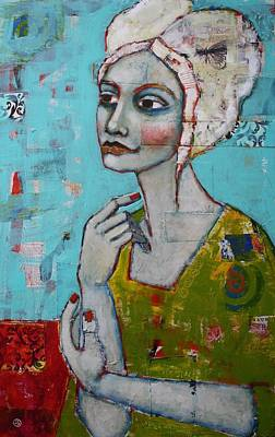Portrait Mixed Media Painting - Holding On by Jane Spakowsky