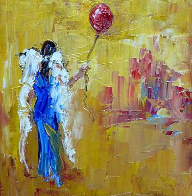 Angel Painting - Holding Onto A Red Balloon 2 by Judy Mackey