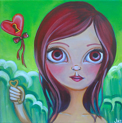Faery Artists Painting - Holding The Key by Jaz Higgins