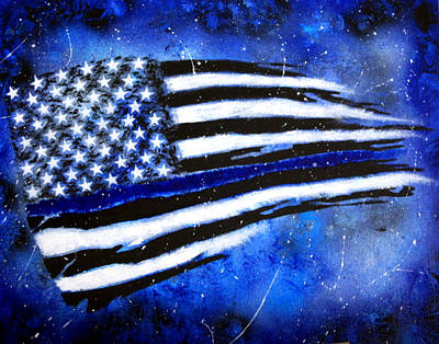 Police Patrol Law Enforcement Painting - Holding The Line by Kim Lentz
