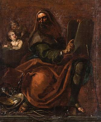 Tablet Painting - holding the Tablets by Annibale Carracci