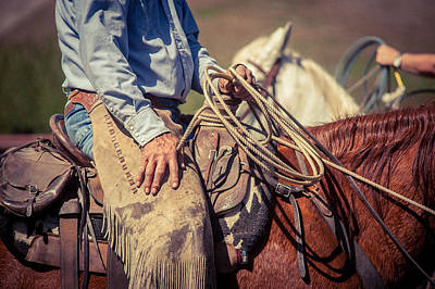 Working Cowboy Photograph - Holding Tight by Erin Calderon