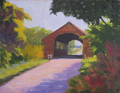 Covered Bridge Painting - Holdingford Bridge by David Rickert