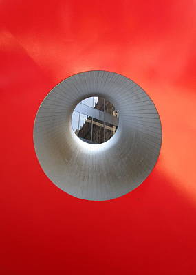 Art In Public Places Photograph - Hole In Red Cube by Randall Weidner