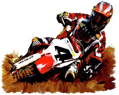 Ricky Painting - Hole Shot Ricky Carmichael by Iconic Images Art Gallery David Pucciarelli