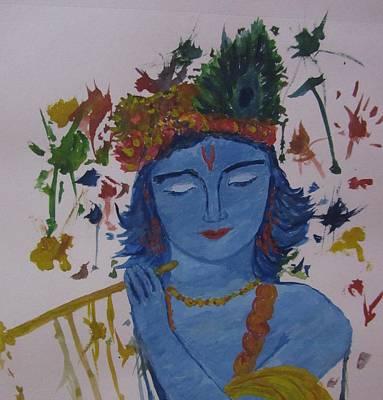 Holi Painting - Holi Krishna by Aurokanya Chattopadhya