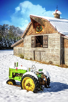 Photograph - Holiday Barn And Tractor In The Snow II by Debra and Dave Vanderlaan