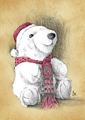 Art Print featuring the drawing Holiday Bear Card by Joe Winkler
