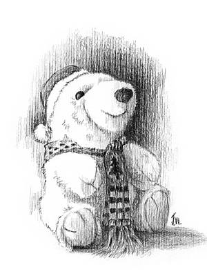 Drawing - Holiday Bear by Joe Winkler