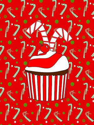 Digital Art - Holiday Candy Cane Cupcake by Kathleen Sartoris