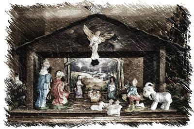 Manger Mixed Media - Holiday Christmas Manger Pa 01 by Thomas Woolworth