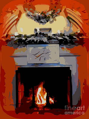 Drawing - Holiday Fireplace #1 by Ed Weidman