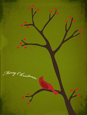 Cardinal Digital Art - Holiday Greeting by Rhianna Wurman