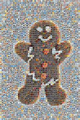 Grid Of Heart Photograph - Holiday Hearts Gingerbread Man by Boy Sees Hearts