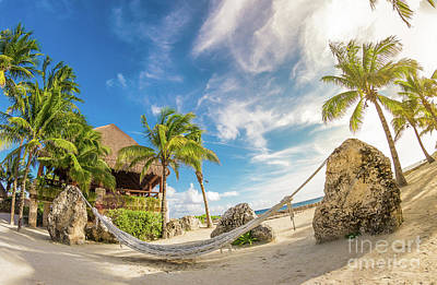 Holiday In Mexico On Tropical Beach Under The Palms Art Print by Evgeny Drablenkov
