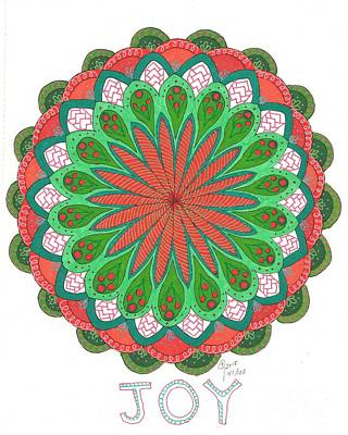Wall Art - Drawing - Holiday Joy Mandala by Jeanette Clawson