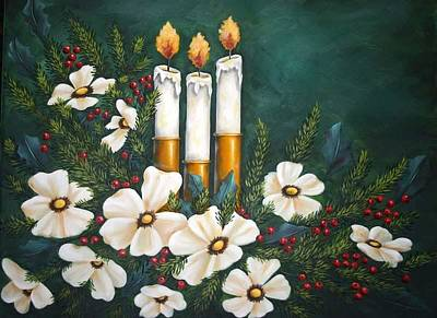 Holly Berry Still Life Painting - Holiday Light by Ruth Bares