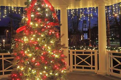 Photograph - Holiday Lights On Town Common Gazebo by John Burk