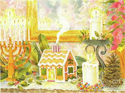 Menorah Painting - Holiday Mantelpiece by Joyce Hensley
