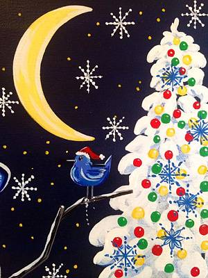 Painting - Holiday Moon Bird by Jennifer Lake